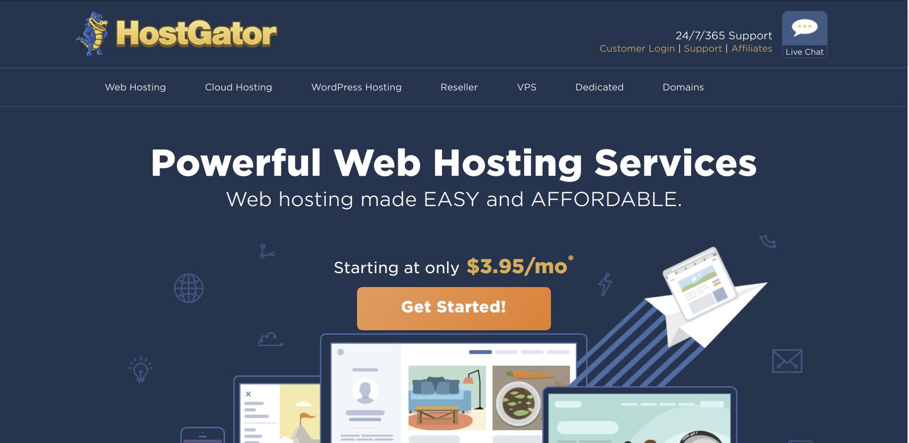 hostgator website hosting page
