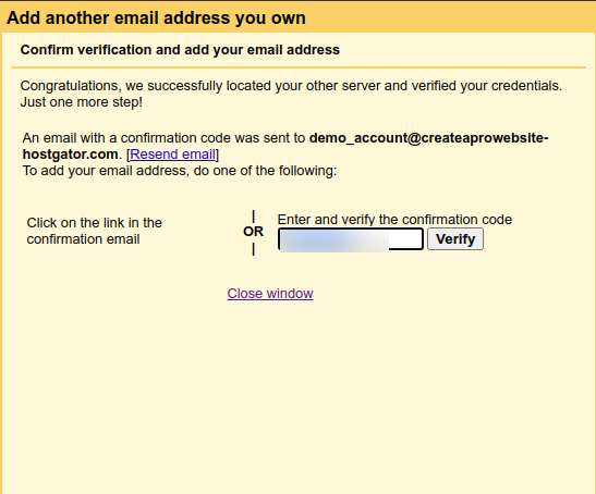how to create custom email address free enter verification code