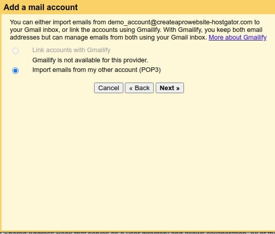 import emails email address with my own domain name