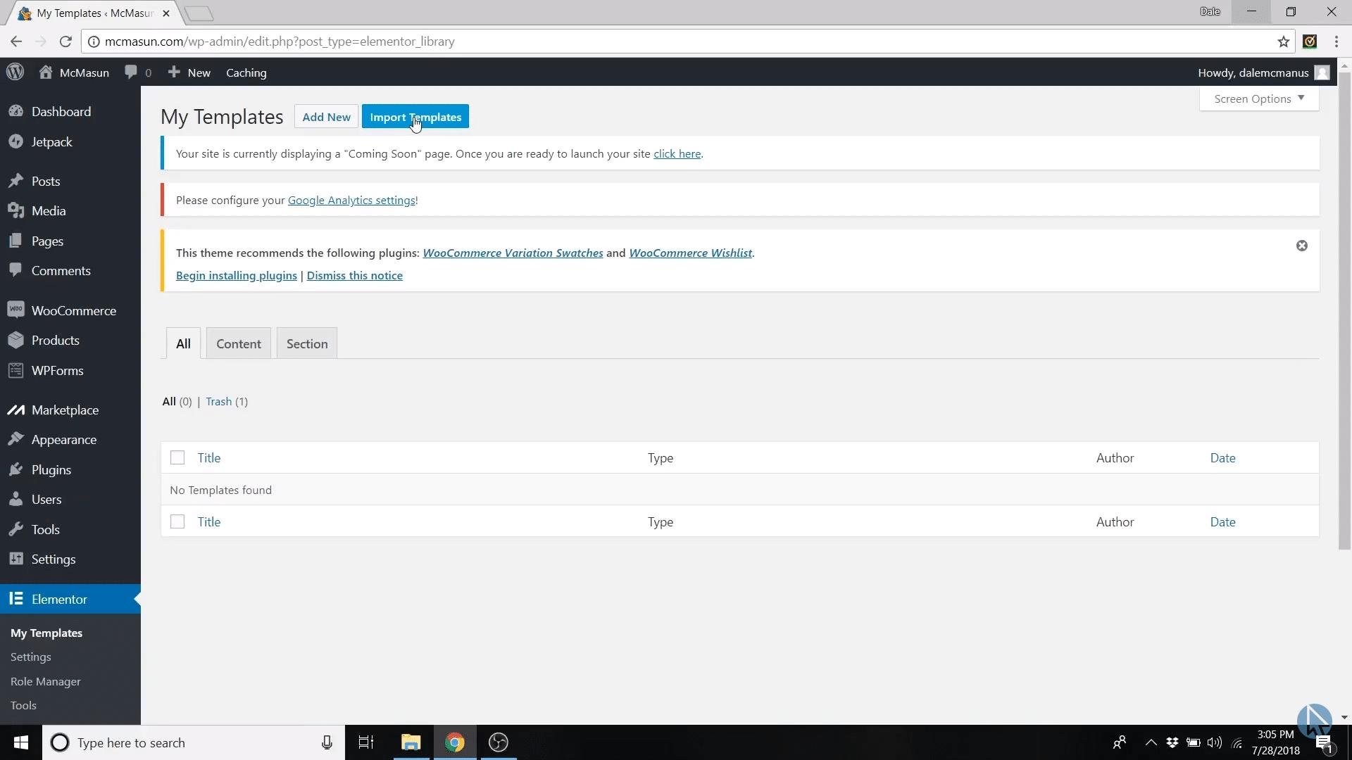 elementor import templates