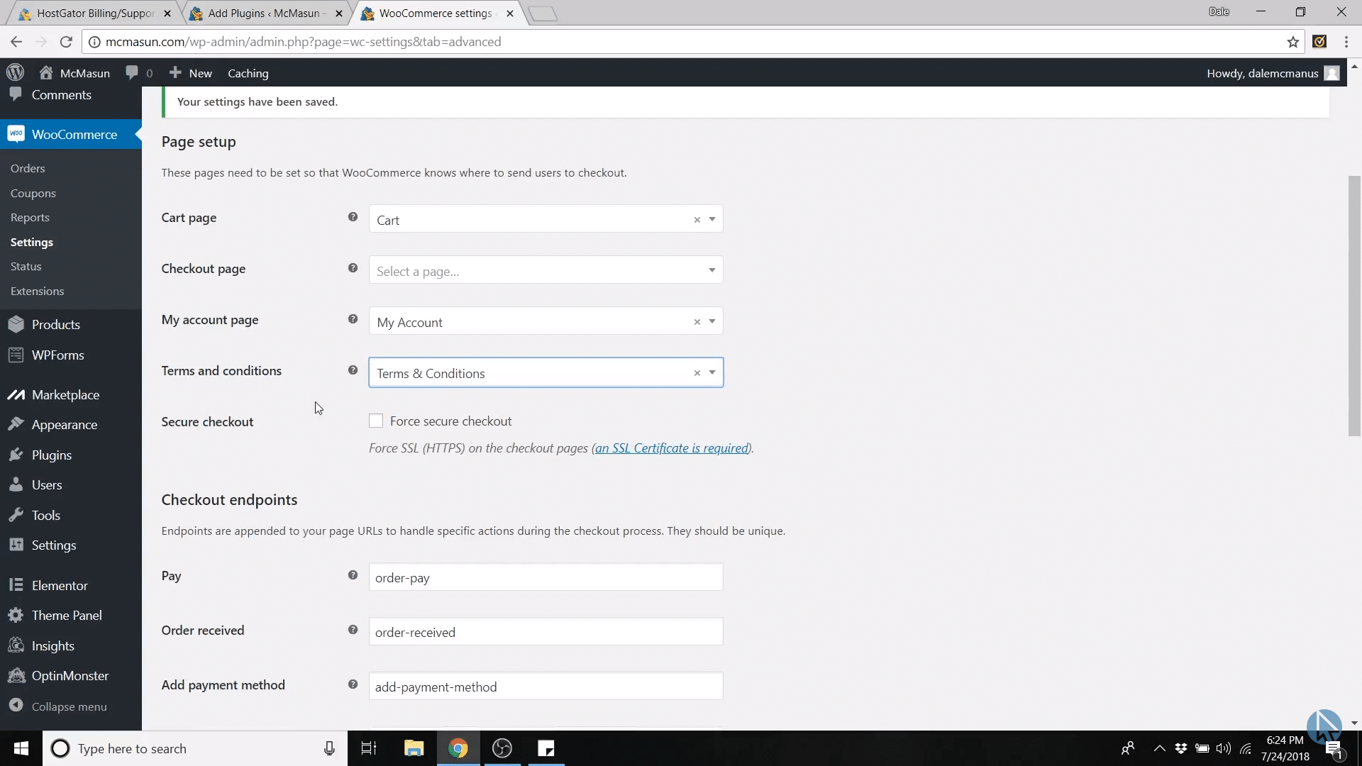 secure checkout unchecked