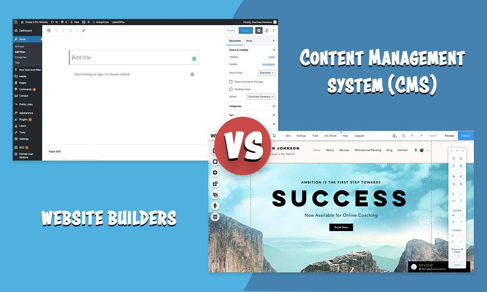 Website builders vs WordPress CMSs