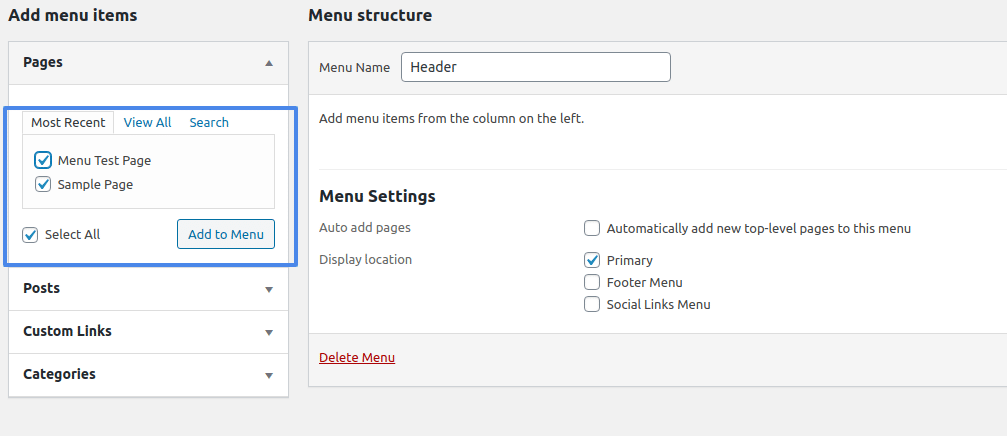 add to menu building a wordpress website