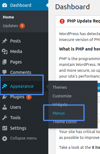 wordpress for dummies modifying menus