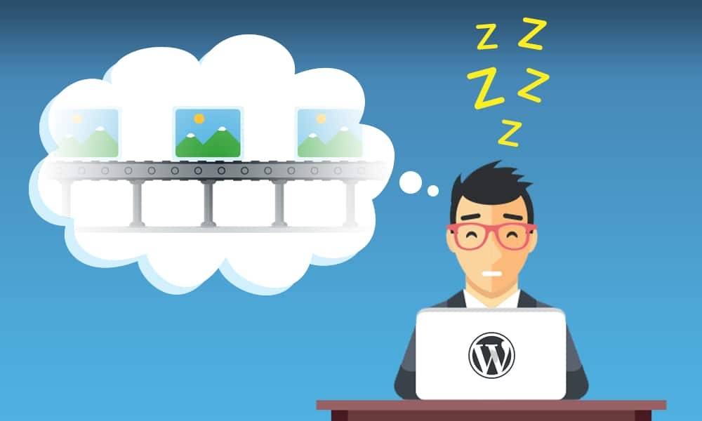 wordpress lazy loading man snoozing