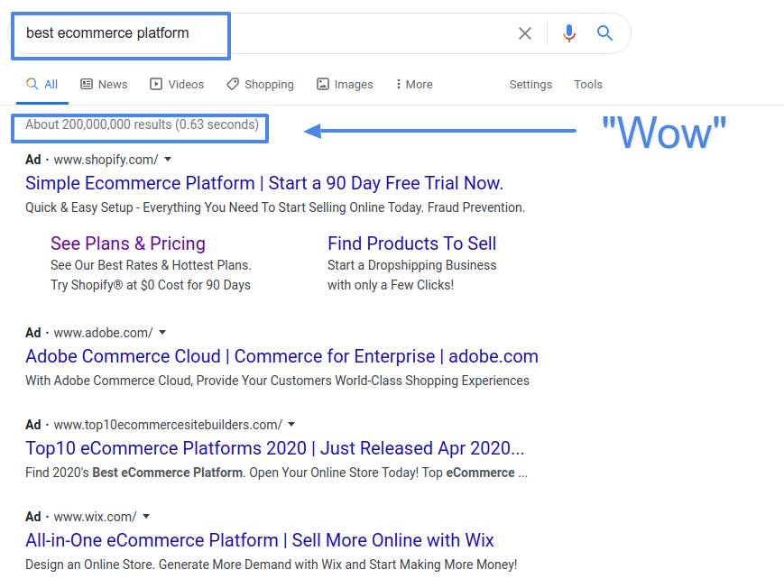 best ecommerce platform google results