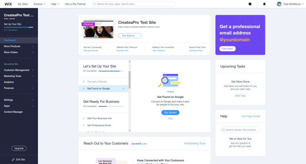 best ecommerce platform wix dashboard
