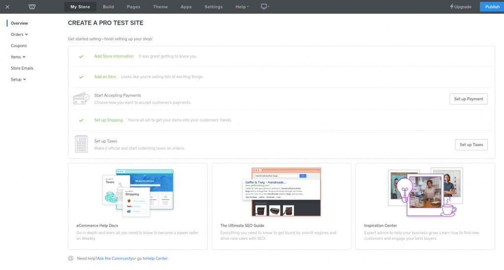free ecommerce platform weebly dashboard