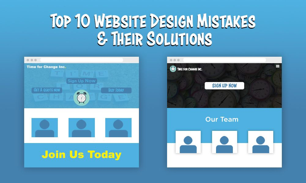 website design top 10 mistakes and their solutions featured image