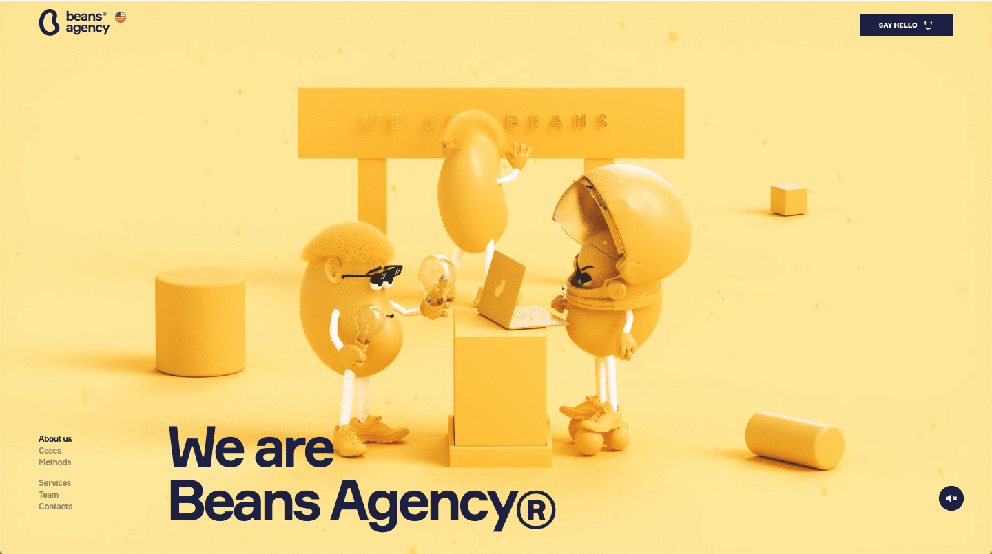 beans agency website color schemes examples