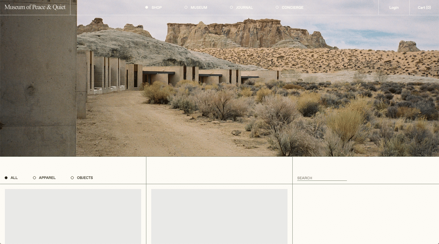 museum of peace and quiet website color schemes examples