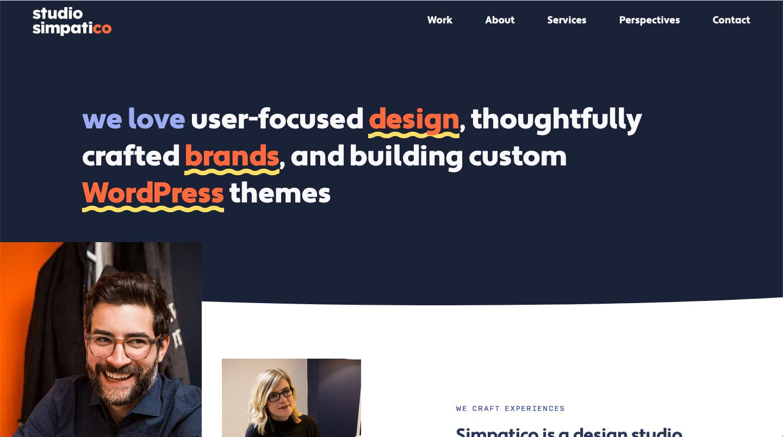 studio simpatico website color schemes examples