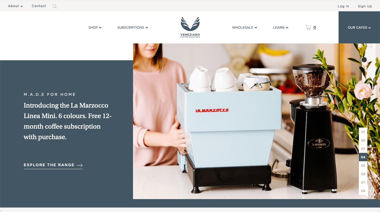 veneziano coffee website color schemes examples