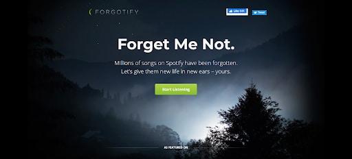 forgotify landing page weirdest websites to visit