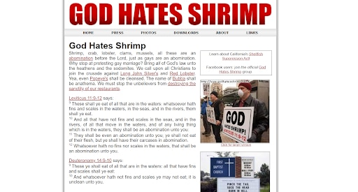 god hates shrimp homepage crazy websites