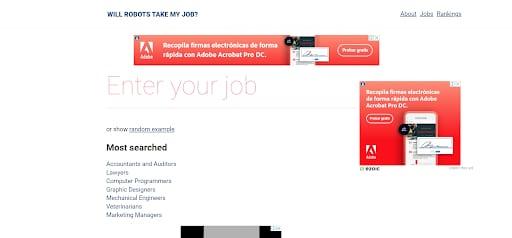 unusual websites will robots take my job landing page